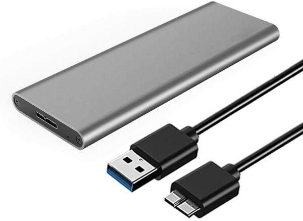 M2 USB 3.0 M.2 SSD Enclosure B+M Key M.2 to USB 5Gbps External M2 SSD Adapter Support pour Windows or MacOs