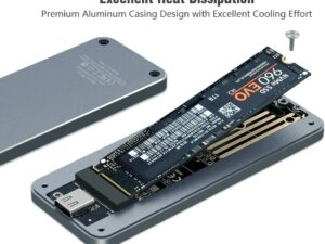 NVMe PCIe M.2 SSD vers USB 3.1 Gen2 Boîtier Externe de Adaptateur - 10Gbps Aluminium Dissipateur Adapter pour Disque Dur de 2280 PCI-E M2 M-Key NGFF SSD, USB Type C convertisseur Case