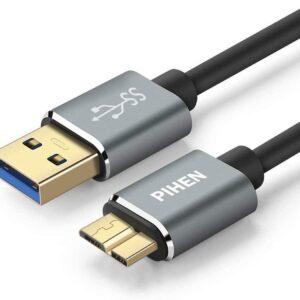 Micro B Câble, Câble et de synchronisation USB 3.0 à Micro USB 3.0 avec connecteur en aluminium POUR Disque dur externe Samsung Galaxy S5 (0.5m)