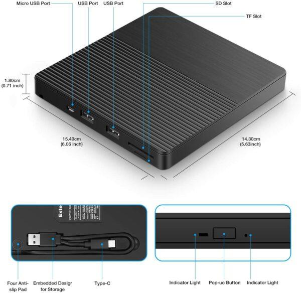 Lecteur CD/DVD Externe, Graveur DVD/CD Externe USB 3.0 et Type-C, Ports USB, Slot SD/TF, Ultra-Mince Portable, External Drives pour Windows XP/7/8/10, Macbook, iMac, Laptop, Desktops